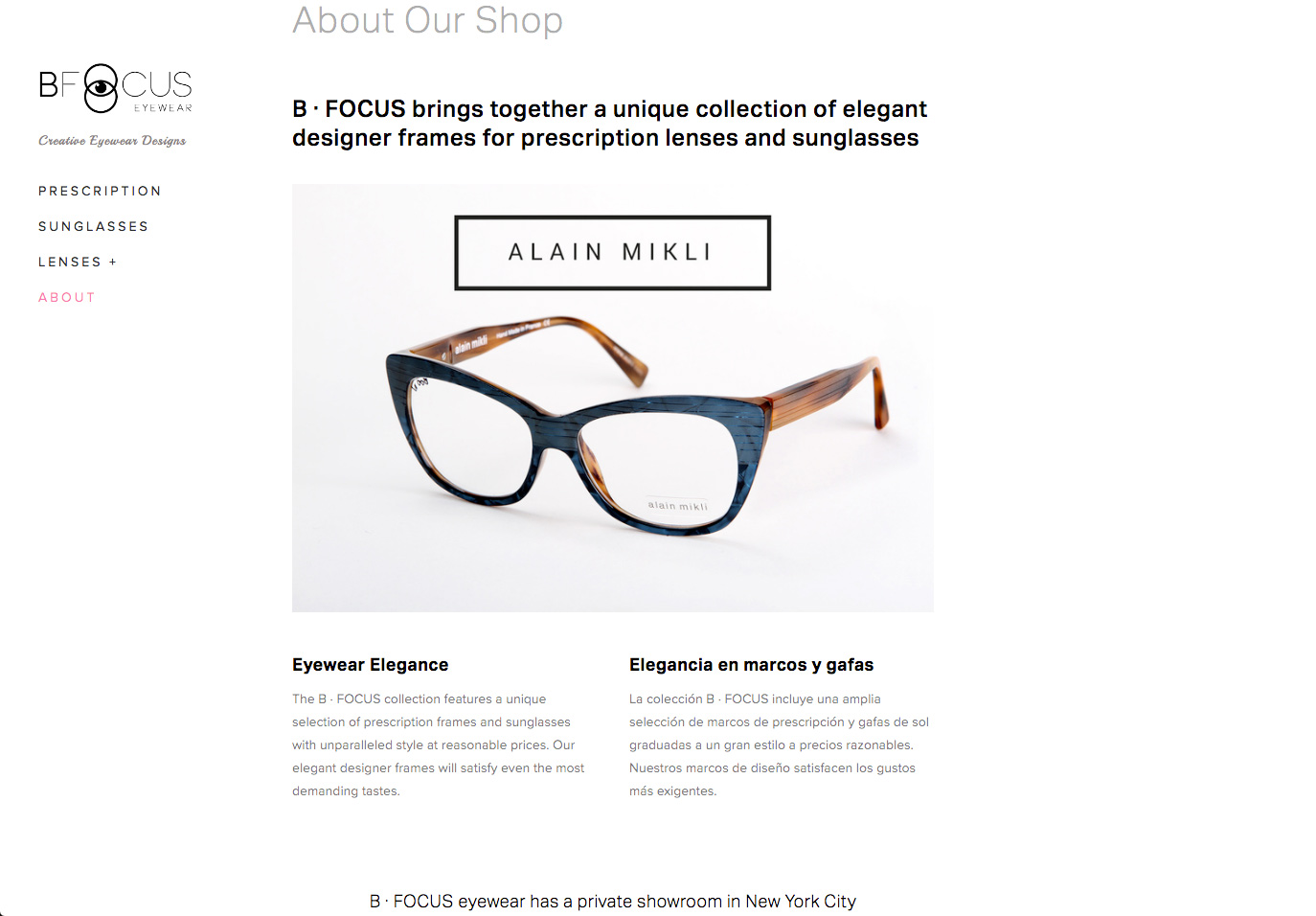 BFOCUS eyewear website