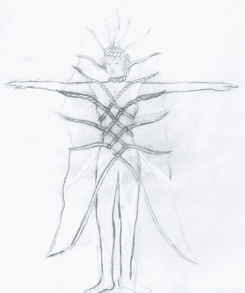 Sketch of Aural Aura extension of the bodysuit for performance